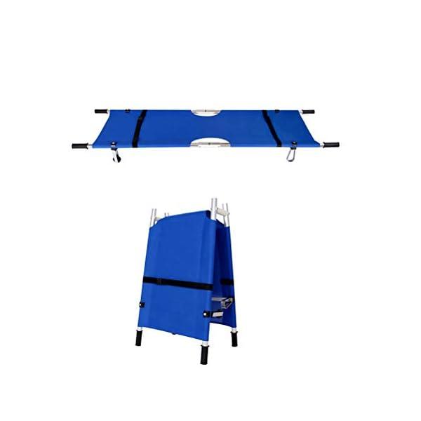 Dbtxwd Ensanchador médico Azul, Camilla Plegable Ligera del Rescate de los Primeros Auxilios del Paciente con la polea 2