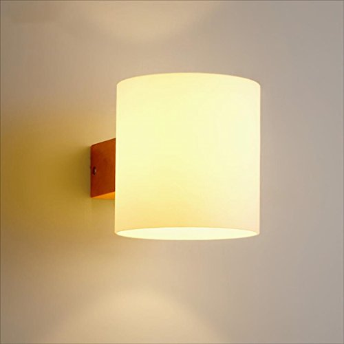 Chi Cheng Fang Electronic business Tools & Home Improvement/Lighting & Ceiling Fans Wall lamp glass Wooden modern Simple Bedroom lights Bedside lamp Stairs lights E27 Square wall lamp 5w A+ by Chi Cheng Fang Electronic business