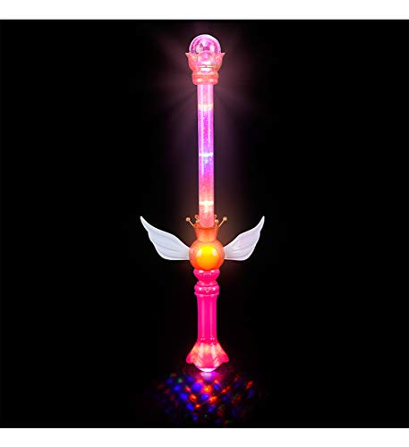 Rhode Island Novelty LED Light Up Royal Princess Moon Fairy Wing Scepter Wand - Multi Flashing Modes, Glitter Interior, 21