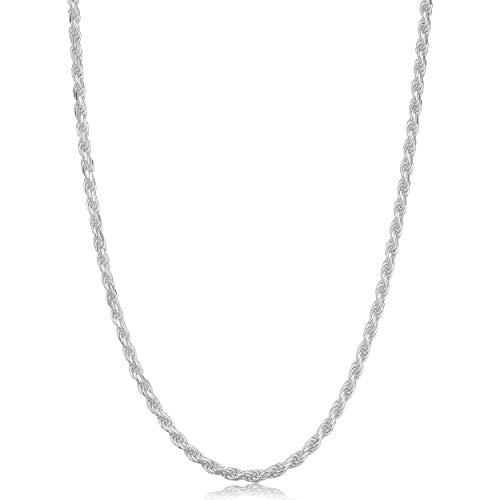 Kooljewelry 925 Sterling Silver Diamond-cut Rope Chain Necklace (2.3 mm, 14 inch) ()