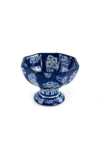 Bowl Pedestal Porcelain (Vagabond Vintage, Set of Four Hexagonal Pedestal Bowls)