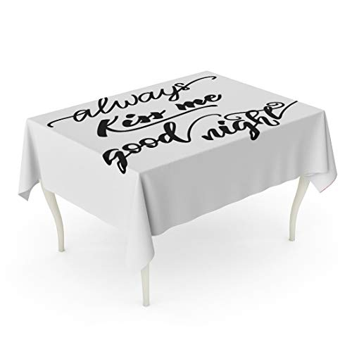 Tarolo Rectangle Tablecloth 60 x 84 Inch Celebration Lettering Phrase Always Kiss Me Good Night Child Couple Dear Drawn Exhale Table Cloth