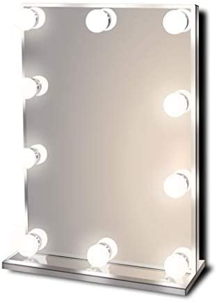 Waneway Hollywood Lighted Vanity Makeup Mirror with Bright LED Lights, Light-up Frameless Dressing Table Cosmetic Mirror with Dimmable Bulbs, Multiple Color Modes Standard