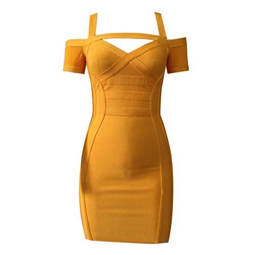 KAOUYOU Women's Spaghetti Strap Bodycon Bandage Dress Off The Shoulder Mesh Dress (X-Large, Yellow)