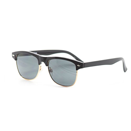 Black Coloured Round Half Frame Childrens Unisex Half Rim Style UV400 - Uk Round Black Sunglasses