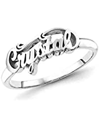 925 Sterling Silver Personalized Script Letters Name Ring Promise Ring for Her