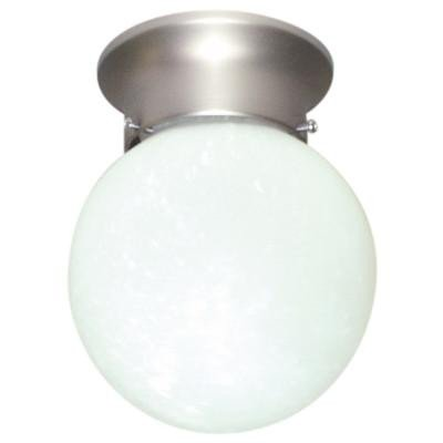 Sunlite GLO6/BN 6-Inch Globe Ceiling Fixture, Brushed Nickel Finish with Alabaster ()