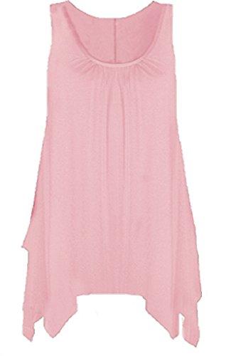 Boutique - Camisa sin mangas para mujer, con dobladillo y acampanada, disponible en tallas grandes rosa pastel