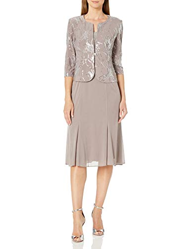 Alex Evenings Women's Tea Length Mock Dress with Sequin Jacket (Petite and Regular Sizes), Pewter/Frost, 14