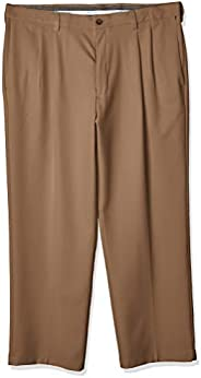 Haggar Mens Cool 18 Pro Classic Fit Flat Front Expandable Waist Pant