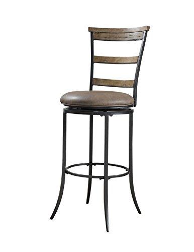 Hillsdale Furniture Charleston Ladder Back Swivel Counter Stool, Desert Tan and Gray