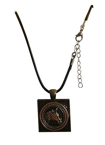 (Hand Poured Resin Necklace 1 Inch Square Bezel Necklace Set, Gift Boxed (Horse Medallion 3D Antique Bronze))