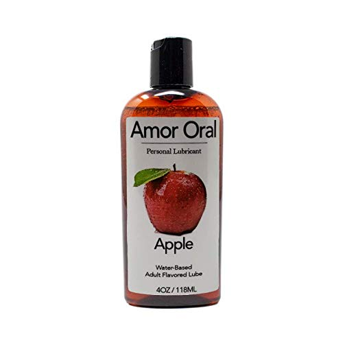 Apple Flavored Lube - Amor Oral Personal Lubricant - 4 oz - Edible and Organic - Great for Both Men and Women