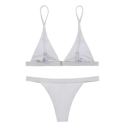 X-HERR Mujer Triángulo Top Fondo Brasileño Trajes de baño Bikini Blanco