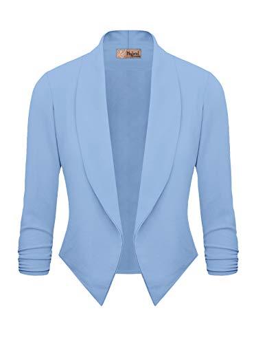 Womens Casual Work Office Open Front Blazer JK1133X Sky Blue 1X