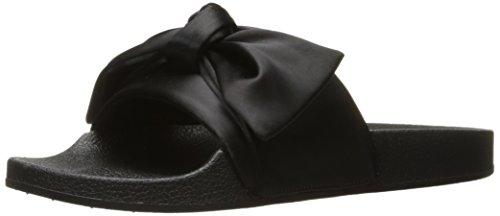 Steve Madden Women's Silky Flat Sandal, Black Satin, 8 M US by Steve Madden