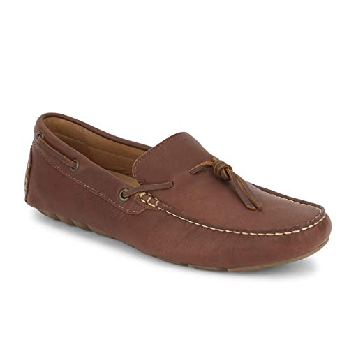Lucky Brand Mens Wagner Leather Driver Loafer Shoe, Red Brown, 13 M