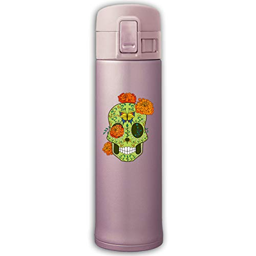 Stainless Steel Mug Sugar Skull With Rose Eyes Bouncing Cover Insulation Vacuum Cup Bottle Thermos Mug Pink