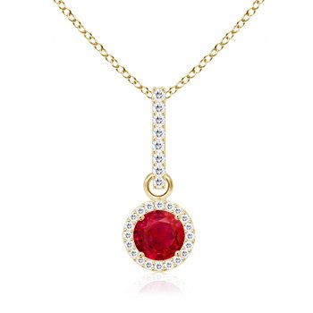 Dangling Round Ruby and Diamond Halo Pendant in 14K Yellow Gold (6mm Ruby)