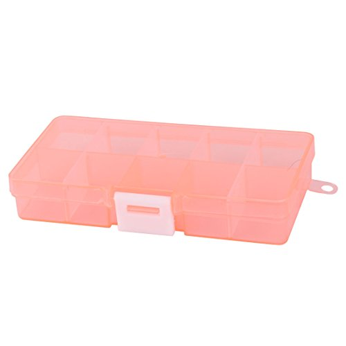 uxcell Plastic Home Adjustable 10 Compartments Beads Pill Capsule Storage Case Box Orange