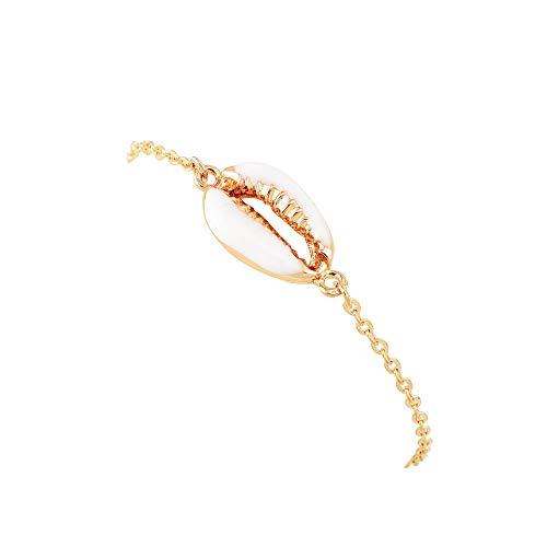 Gold Hawaiian Bracelets - RUIZHEN Gold Silver Metal Cowrie Bead Sea Shell Bracelet Hawaiian Beach Style Bracelet (Gold-Chain)