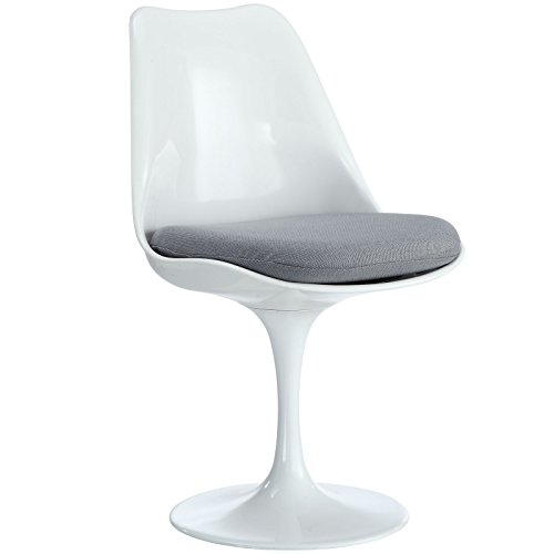 Modway Lippa Modern Dining Side Chair With Fabric Cushion in Gray