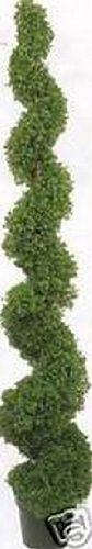 One 6 Foot 3 Inch Artificial Boxwood Spiral Topiary Tree Potted Indoor or Outdoor