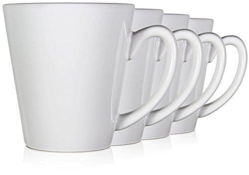Serami 12oz Funnel Short Mugs for Coffee or Tea. Large Handles and Ceramic Construction, Set of 4 (Ounce Porcelain Mug 12)