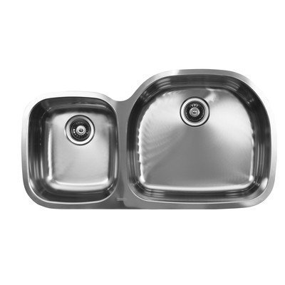 Ukinox D537.60.40.8R Modern Undermount Double Bowl Stainless Steel Kitchen Sink by UK Sales LLC