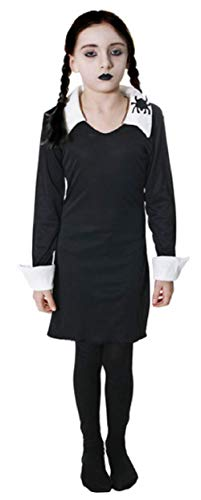 Girls Morbid Daughter Goth Family Cult Classic Halloween Film Movie Book Week Fancy Dress Costume Outfit 4-14 Years (12-14 Years) Black]()