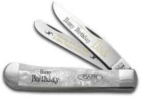CASE XX Happy Birthday Dad Smooth White Pearl Corelon Trapper 1 999 Pocket Knife Knives