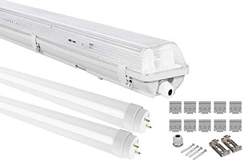G13 LED Feuchtraumleuchte 2x T8 LED, 36W 3600LM 120cm, IP65 LED Feuchtraumwanneneuchte, LED Wannenleuchte Leuchtstofflampe, Kaltwweiss CRI80 (1xKW)