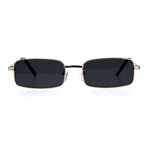 Mens Retro Vintage Narrow Rectangular Pimp Metal Sunglasses Gold ()