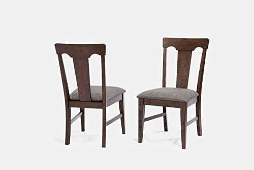 Wood Dining Chair with Linen Upholstery - Dining Chair with Queen Anne Back - Set of 2 - Black Oak (Queen Anne Upholstery)