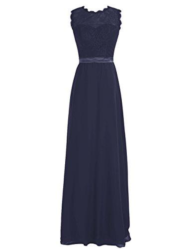 Dresstells®Vestido De Fiesta Largo Con Cinturón De Gasa Encaje Elegante Azul Marino