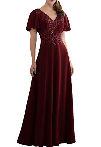 Lovelybride Linie A Burgund Ausschnitt Chiffon mit V Abendkleider Ärmel Kurze Partykleid Spitze r4rwxq5CO