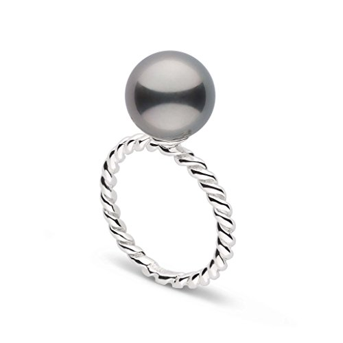 10/0 Pearl - Twist Collection 10.0-11.0 mm Tahitian Cultured Pearl Ring - Sterling Silver - Ring Size 6
