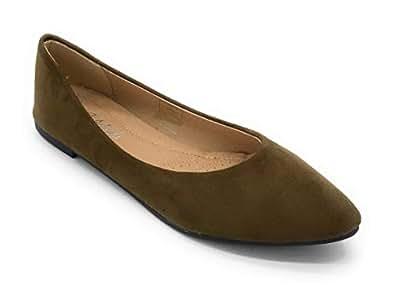 J.Mark Women Suded Pointed Toe Slip On Flats (5, Brown)