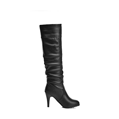 on Pull PU Women's Heels Closed Round Black Toe Solid High Allhqfashion Boots z7w0qa8w