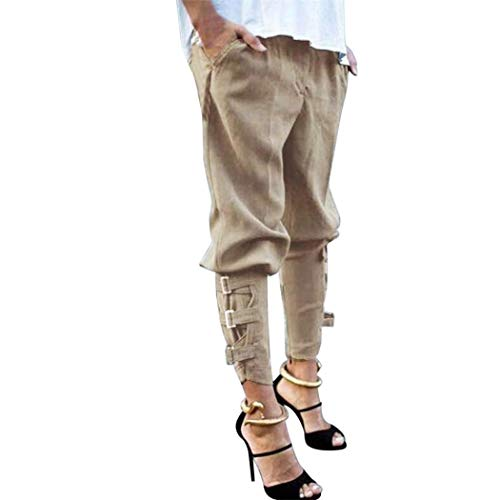 iYBUIA Womens Casual Harem Baggy Hip Hop Dance Jogging Sweat Pants Slacks Trousers(S-5XL)(Khaki,L) ()