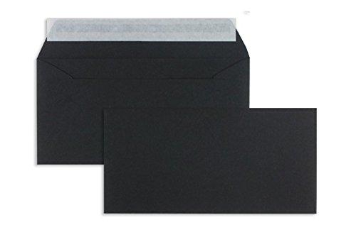 Farbige Briefhüllen   Premium   110 x 220 mm (DIN Lang) Schwarz (100 Stück) mit Abziehstreifen   Briefhüllen, KuGrüns, CouGrüns, Umschläge mit 2 Jahren Zufriedenheitsgarantie