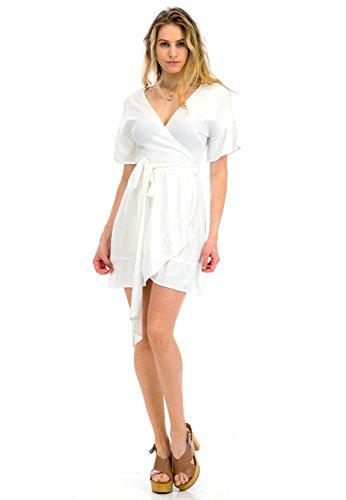 Malibu Days Short Sleeve Wrap Ruffle Mini Dress, Ivory, (Womens Mini Day Dress)
