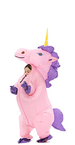 Inflatable Unicorn Costume for Kids Pony Horn Horse Suit for Halloween (Kid Pink) -