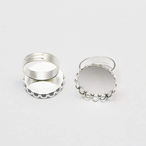 - Brass Jewelry Finding Ring Base Fit 20mm Round Matte Silver Plated(10pieces)