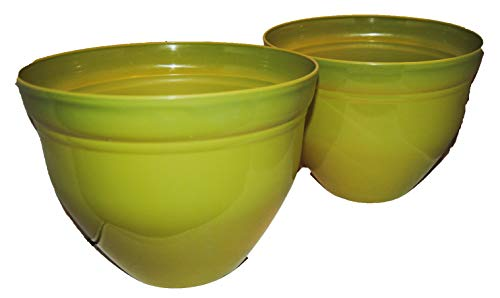 Large Shiny Bright Colored Flower Pots (2 Pack) (Lime Green) - Lime Green Pot