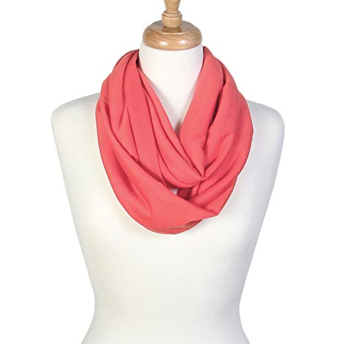 (Scarfand's Super Soft Light Weight Solid Color Infinity Loop Scarf (Coral))