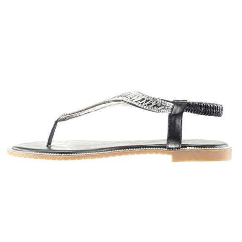 Zapatillas Correa Joyas Ancho 1 Moda Mujer Angkorly Tacón Negro Sandalias Strass Chanclas Cm Awnf1xqd