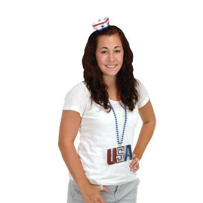 Patriotic Sailor Hat Hair Clip (white w/red & blue trim) Party Accessory  (1 count) (Patriotic Hat Hair Clip)
