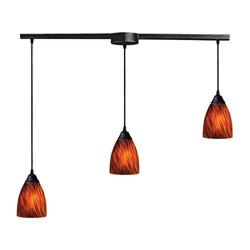 Elk Classico 3 Light Pendant In Dark Rust And Espresso Glass - -