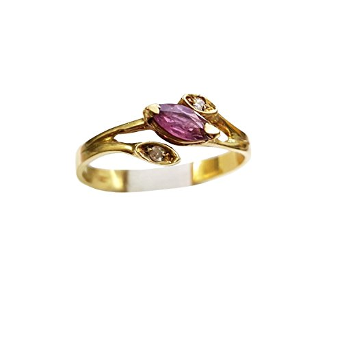 Bague Femme en Or 18cts 750avec rubis 0.15ct et diamants 0.01ct prix tOP.